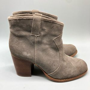 Splendid gray suede heeled round toe booties